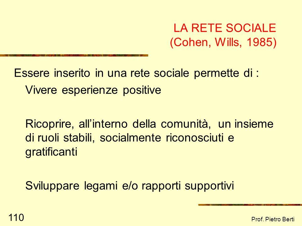 Prof. Pietro Berti 109 DISTINZIONE TRA RETE SOCIALE E RETE PERSONALE RETE SOCIALE insieme dei legami fra tutti i membri di una popolazione RETE PERSON