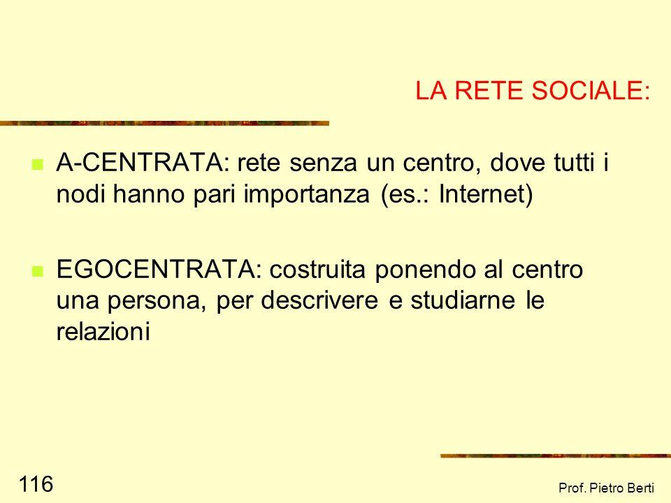 Prof. Pietro Berti 115 CARATTERISTICHE DELLA RETE SOCIALE (5) FUNZIONE La specifica funzione svolta dai membri della rete (sostegno emotivo, aiuto pra