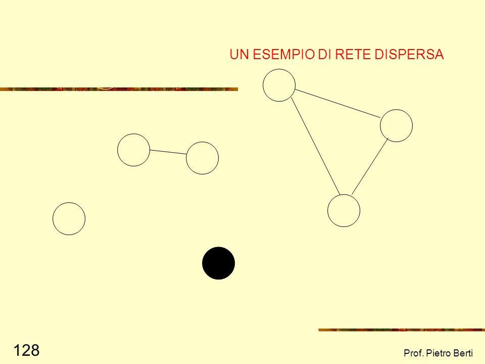 Prof. Pietro Berti 127 CARATTERISTICHE DELLA RETE E POSSIBILITA DI SOSTEGNO (3) RETE DISPERSA Rete di persone che per lo più non si conoscono, caratte