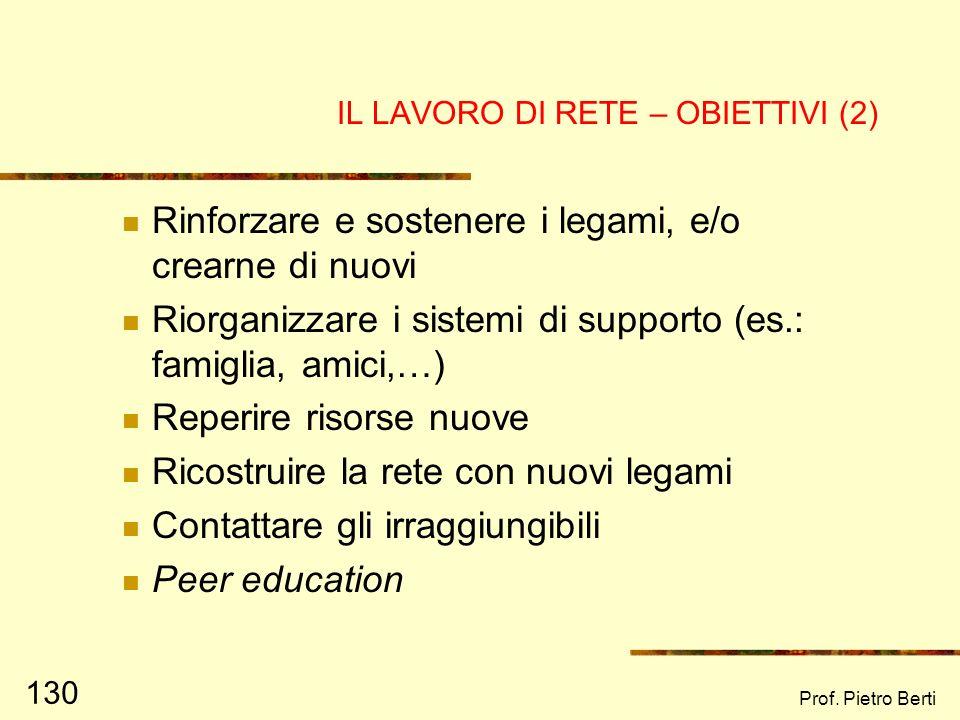 Prof. Pietro Berti 129 IL LAVORO DI RETE - OBIETTIVI Una volta individuata e rappresentata la rete sociale, è possibile lavorare per raggiungere deter