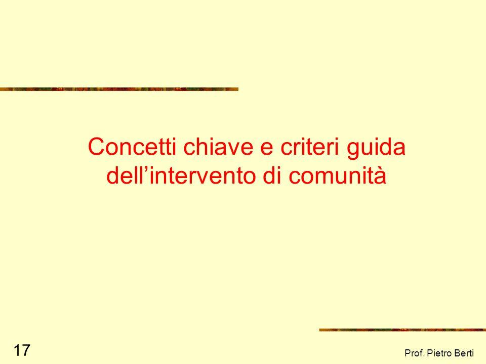 Prof. Pietro Berti 16 La persona nel contesto: la PROSPETTIVA ECOLOGICA Il comportamento umano è il risultato delladattamento dellindividuo alle risor