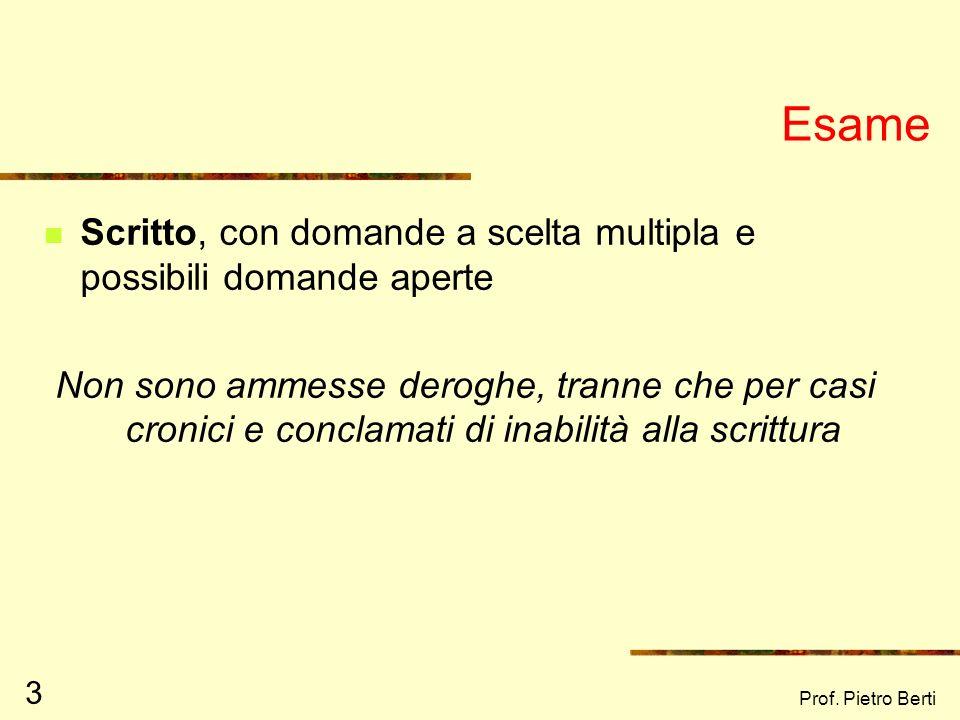 Prof. Pietro Berti 2 Programma desame Martini E.R., Torti A. (2003) Fare lavoro di comunità. Riferimenti teorici e strumenti operativi. Carocci, Roma.