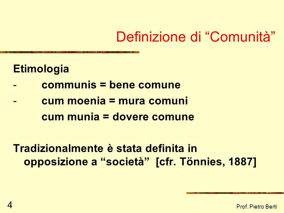 Prof. Pietro Berti 124 ESEMPIO DI RETE COESA ED OMOGENEA