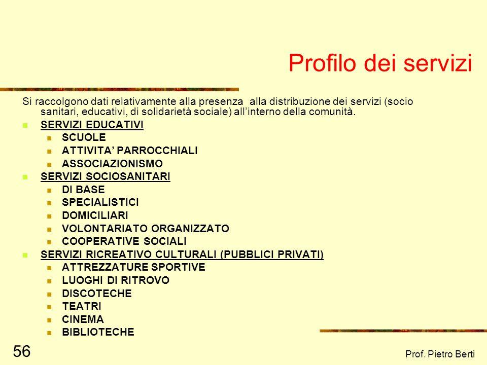 Prof. Pietro Berti 55 Profilo Economico è relativo alla condizione lavorativa e professionale dei vari membri della comunità CAMBIAMENTI NEL SISTEMA P