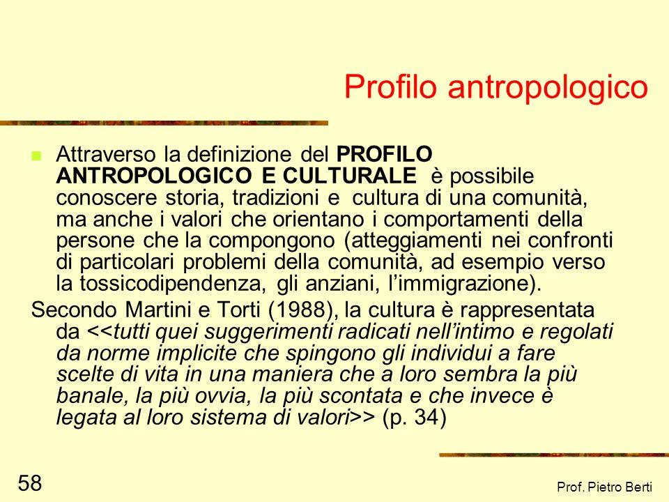 Prof. Pietro Berti 57 Profilo Istituzionale Organizzazioni specifiche che hanno aspetti normativi e morali Istituzioni statali (comune, AUSL) istituzi