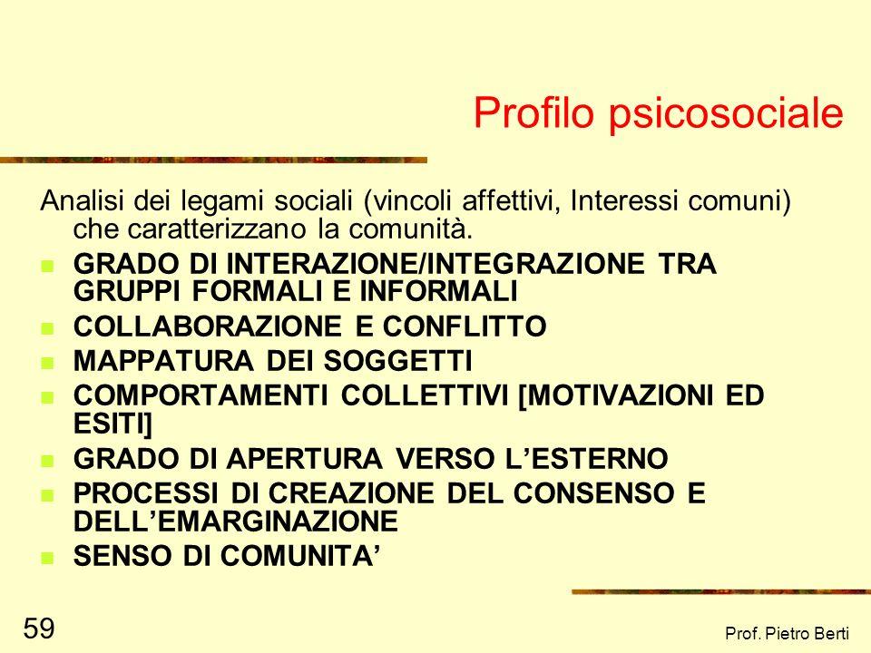 Prof. Pietro Berti 58 Profilo antropologico Attraverso la definizione del PROFILO ANTROPOLOGICO E CULTURALE è possibile conoscere storia, tradizioni e