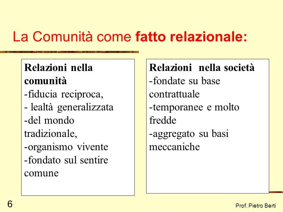 Prof. Pietro Berti 5 La comunità può essere considerata come: luogo definito in termini spazio temporali entità sociale globale in cui i membri sono l