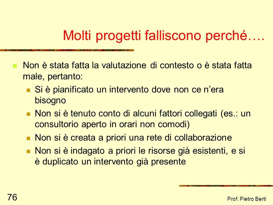 Prof. Pietro Berti 75 Da valutare anche la legittimità dellintervento, ovvero: il progetto si sovrappone a qualche altra realtà già esistente? Se si,