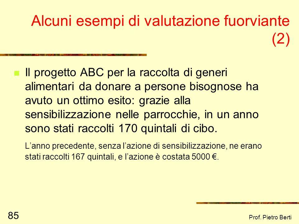 Prof. Pietro Berti 84 Alcuni esempi di valutazione fuorviante Il farmaco XYZ si è dimostrato molto efficace nella riduzione della pressione arteriosa.