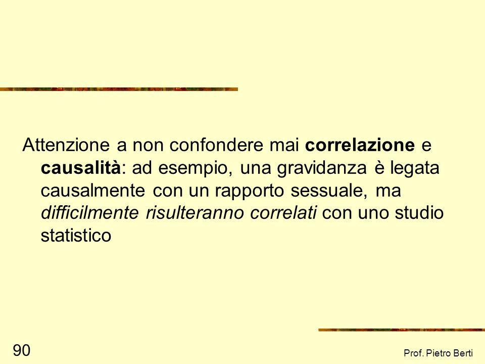 Prof. Pietro Berti 89 Alcuni esempi di valutazione fuorviante (6) In un convegno nel 2001, una ricercatrice affermò che un progetto di educazione civi