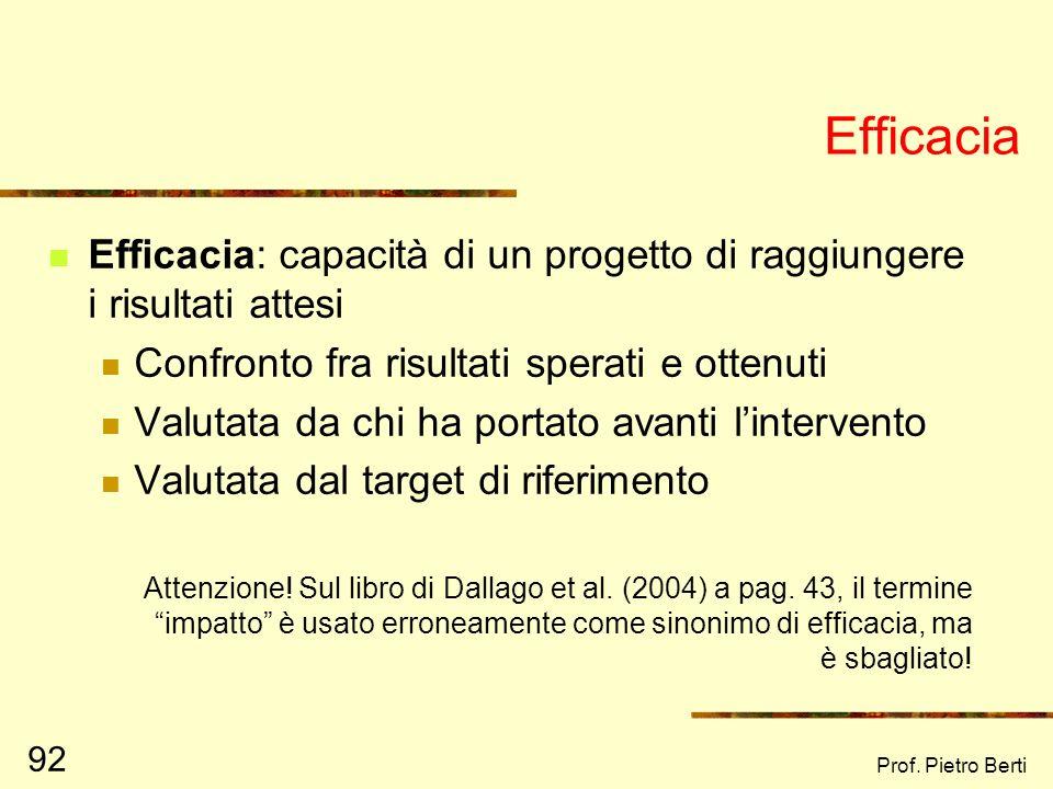 Prof. Pietro Berti 91 I risultati ottenuti (output) Quali sono i principali risultati ottenuti? Come e chi li ha misurati?
