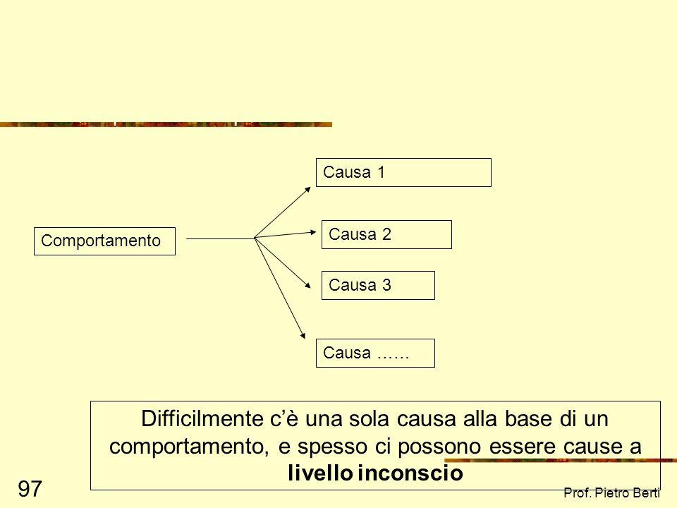Prof. Pietro Berti 96 Diversi livelli, diversi risultati: la prospettiva ecologica Iniziamo a pensare in unottica sistemica SISTEMA = Unità complessa