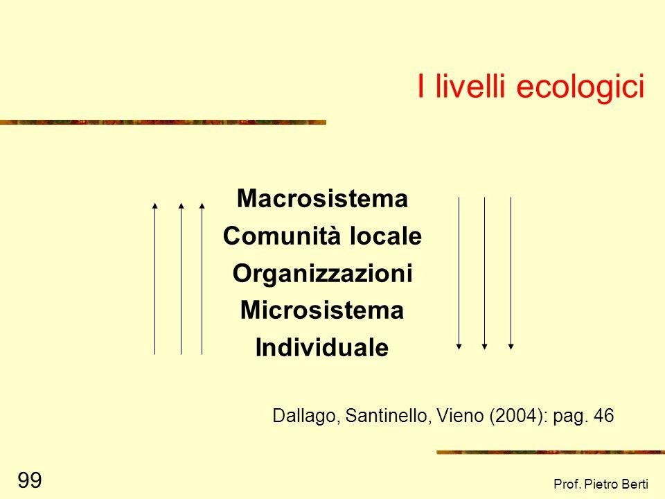 Prof. Pietro Berti 98 Da diverse cause può originarsi uno stesso comportamento… Causa 1 Causa 2 Causa 3 Comportamento …ma spesso le cose sono più comp