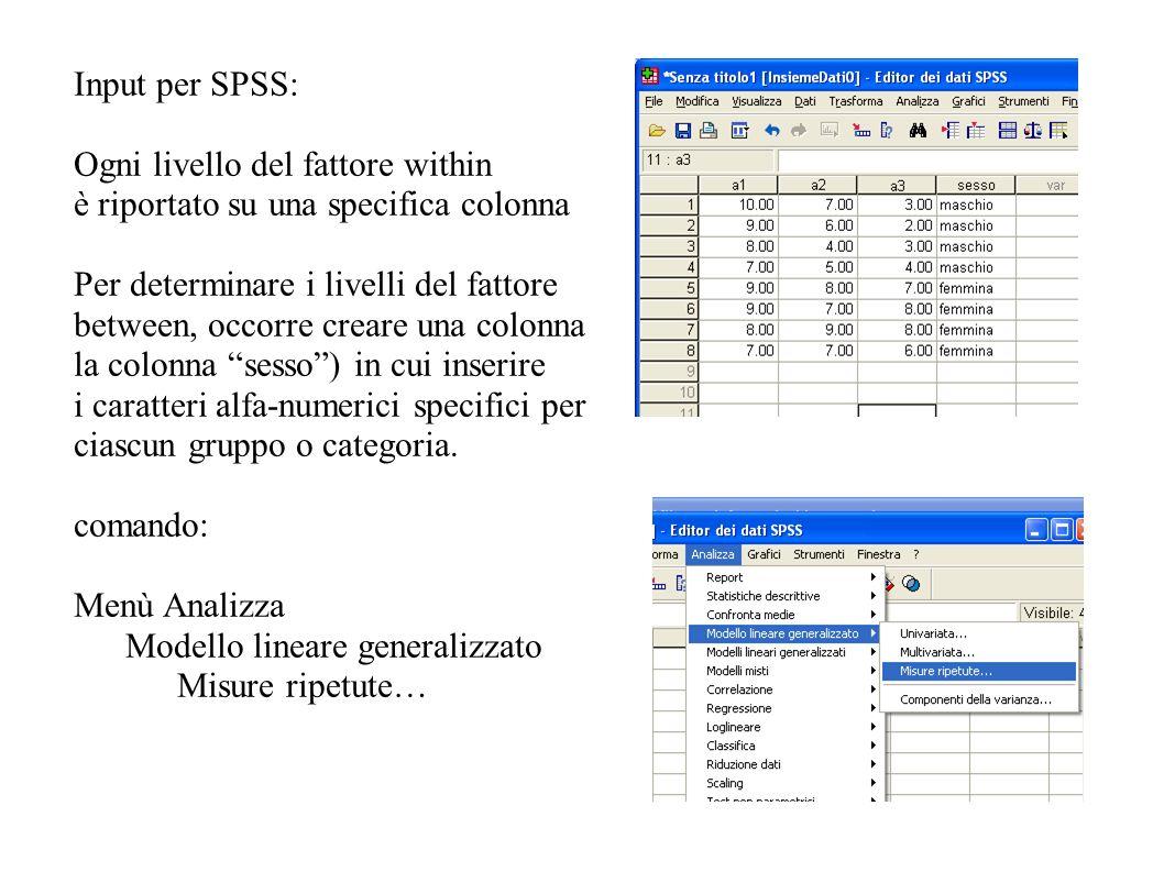 Input per SPSS: Ogni livello del fattore within è riportato su una specifica colonna Per determinare i livelli del fattore between, occorre creare una