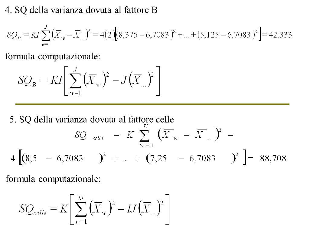 4. SQ della varianza dovuta al fattore B formula computazionale: 5. SQ della varianza dovuta al fattore celle formula computazionale:
