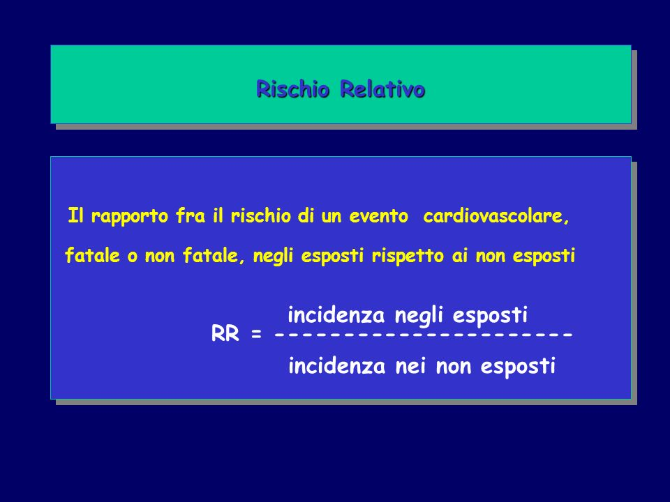 Il rapporto fra il rischio di un evento cardiovascolare, fatale o non fatale, negli esposti rispetto ai non esposti incidenza negli esposti RR = ---------------------- incidenza nei non esposti Il rapporto fra il rischio di un evento cardiovascolare, fatale o non fatale, negli esposti rispetto ai non esposti incidenza negli esposti RR = ---------------------- incidenza nei non esposti Rischio Relativo