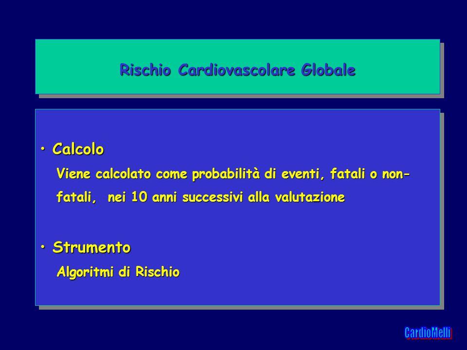 Calcolo Calcolo Viene calcolato come probabilità di eventi, fatali o non- Viene calcolato come probabilità di eventi, fatali o non- fatali, nei 10 ann