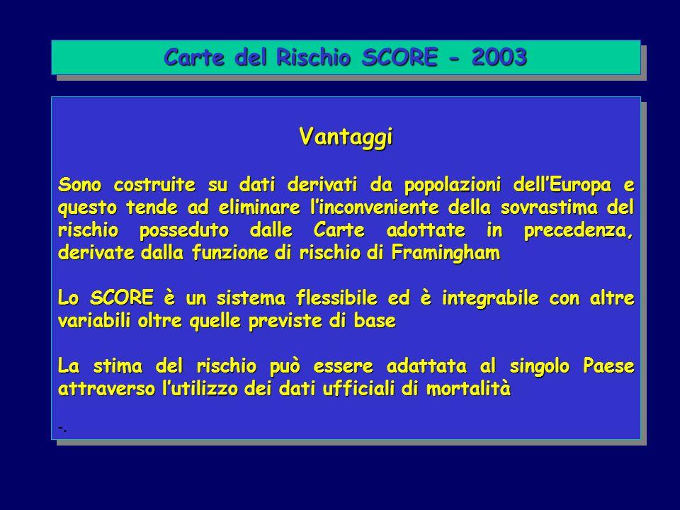 Vantaggi Sono costruite su dati derivati da popolazioni dellEuropa e questo tende ad eliminare linconveniente della sovrastima del rischio posseduto d