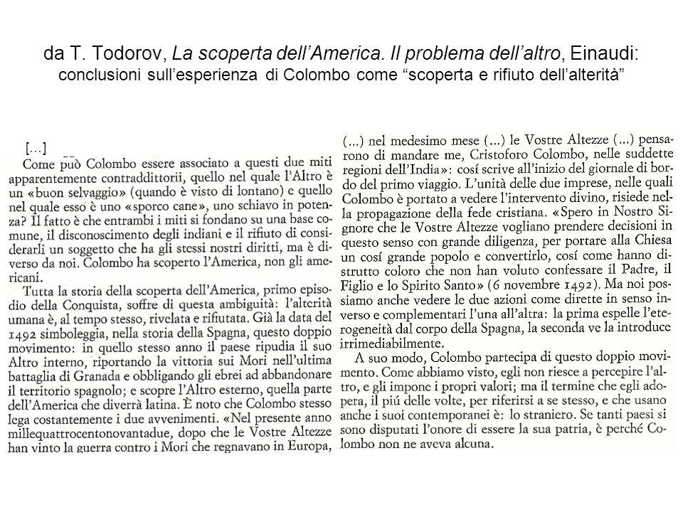 da T. Todorov, La scoperta dellAmerica. Il problema dellaltro, Einaudi: conclusioni sullesperienza di Colombo come scoperta e rifiuto dellalterità […]