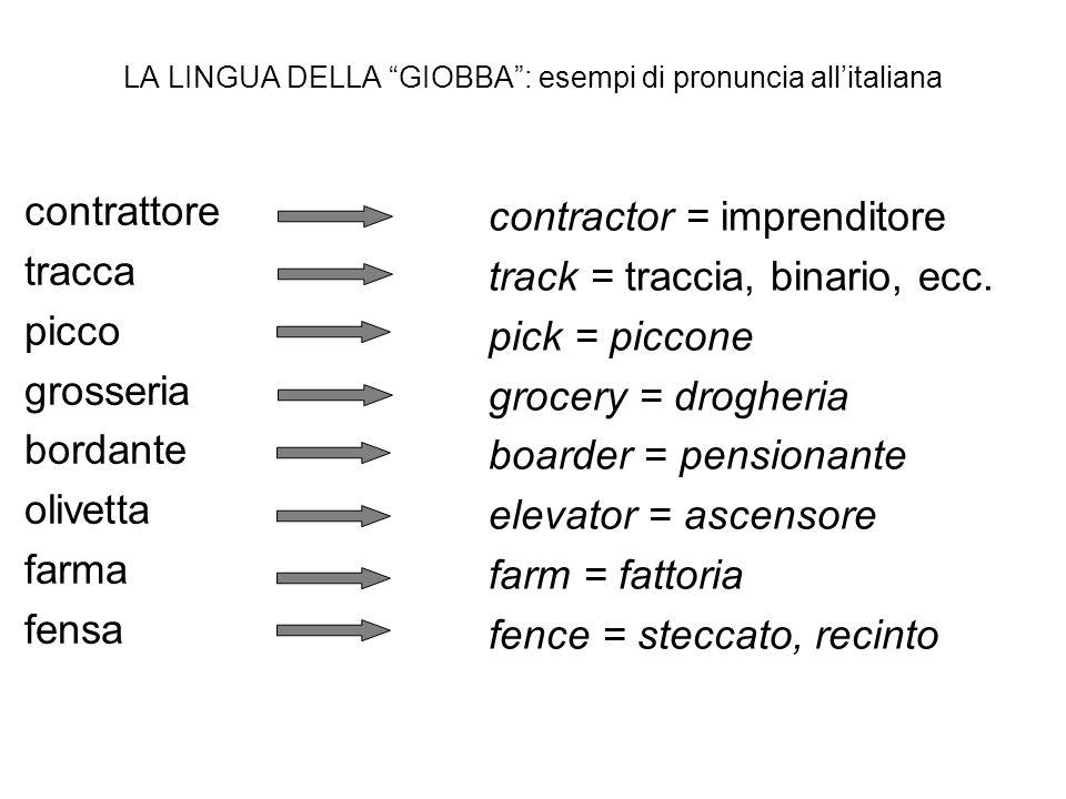 LA LINGUA DELLA GIOBBA: esempi di pronuncia allitaliana contrattore tracca picco grosseria bordante olivetta farma fensa contractor = imprenditore tra
