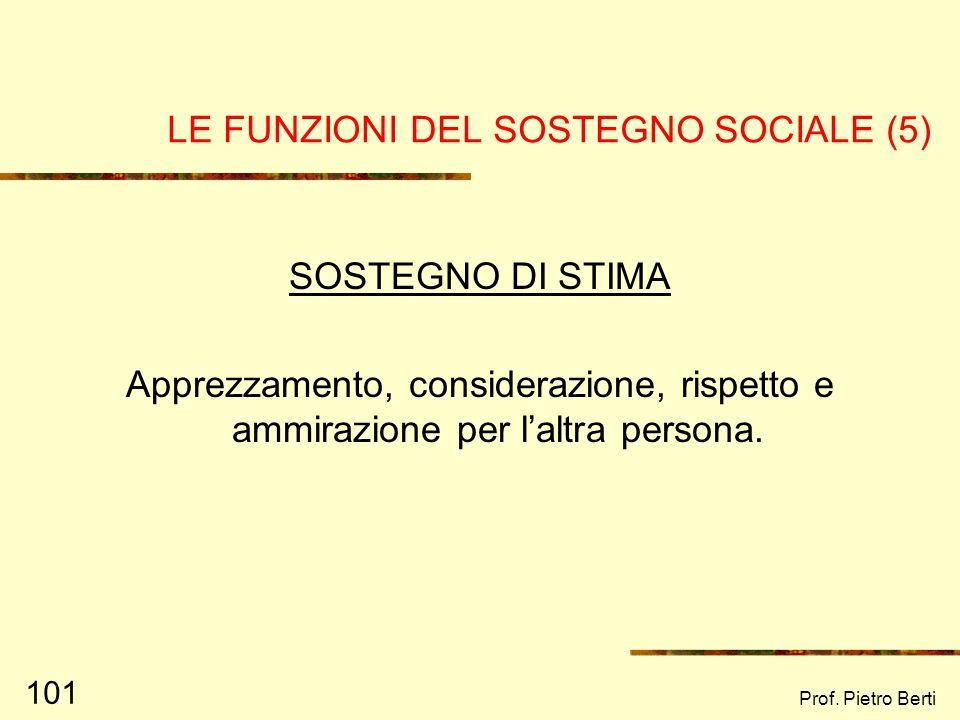 Prof. Pietro Berti 100 LE FUNZIONI DEL SOSTEGNO SOCIALE (4) SOSTEGNO INFORMATIVO Aiuto psicologico atto ad arricchire le conoscenze della persona (es.