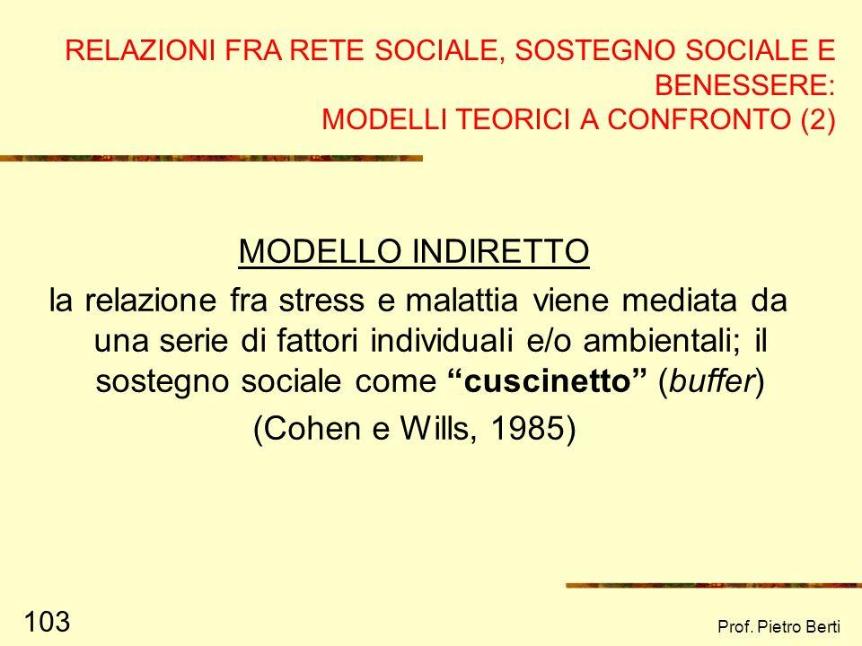 Prof. Pietro Berti 102 RELAZIONI FRA RETE SOCIALE, SOSTEGNO SOCIALE E BENESSERE: MODELLI TEORICI A CONFRONTO (1) MODELLO DIRETTO Effetto diretto sul b