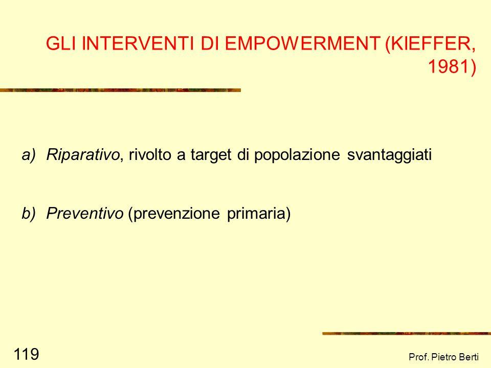 Prof. Pietro Berti 118 REQUISITI DELLEMPOWERMENT (KIEFFER, 1981) Acquisizione di abilità, conoscenze e potere sufficiente da influenzare la propria vi