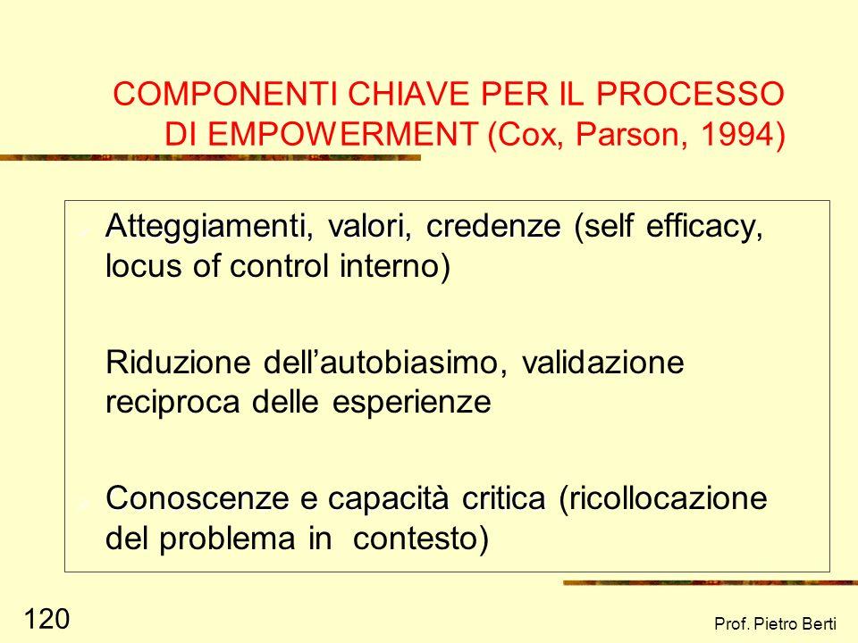 Prof. Pietro Berti 119 GLI INTERVENTI DI EMPOWERMENT (KIEFFER, 1981) a)Riparativo, rivolto a target di popolazione svantaggiati b)Preventivo (prevenzi