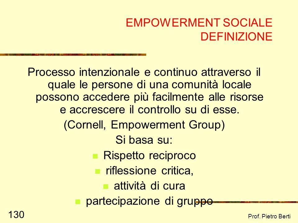 Prof. Pietro Berti 129 EMPOWERMENT SOCIALE