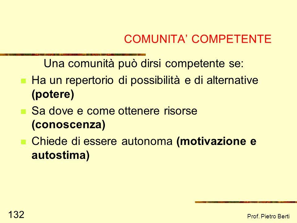 Prof. Pietro Berti 131 IL FINE DELLEMPOWERMENT SOCIALE E LA NASCITA DI UNA COMUNITA COMPETENTE (Iscoe, 1984)
