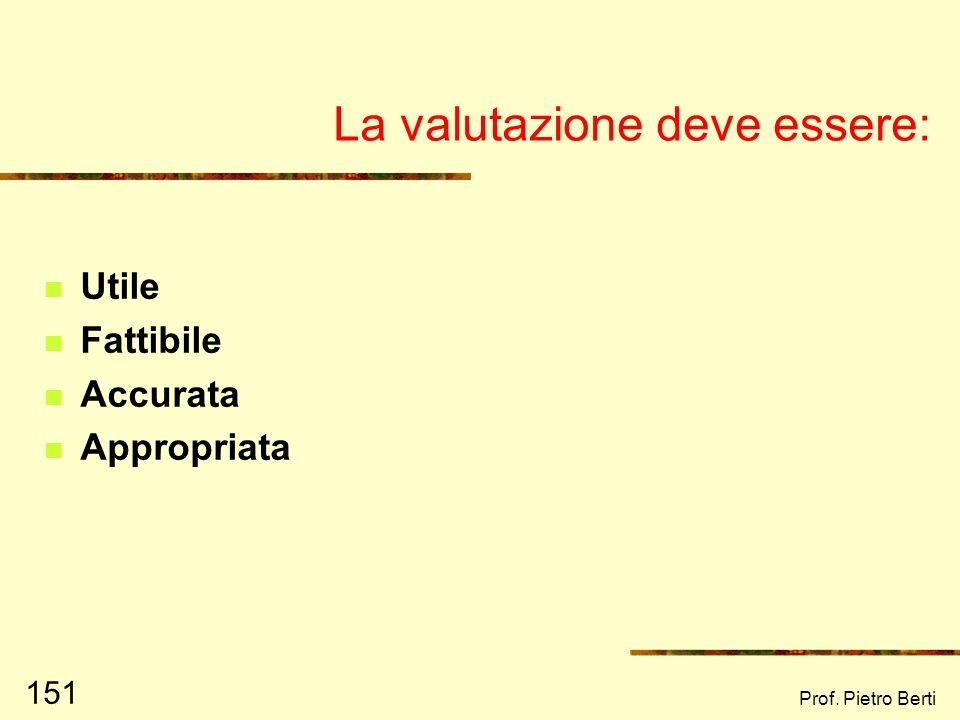 Prof. Pietro Berti 150 Verifica e Valutazione VERIFICARE: controllare, certificare lesattezza e/o la regolarità di qualcosa VALUTARE: confrontare, giu