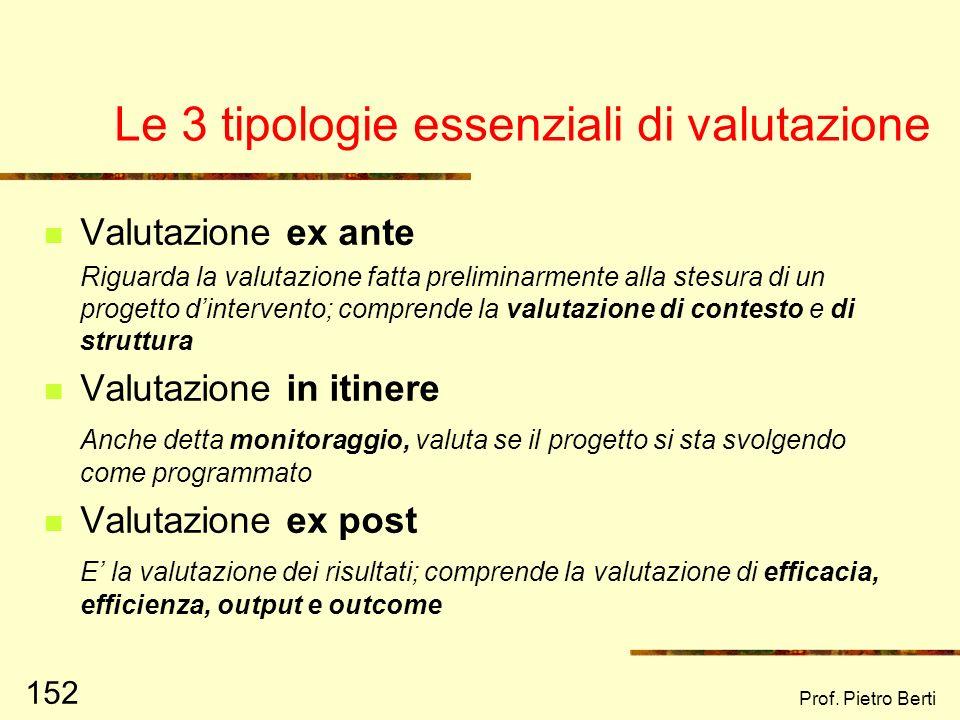 Prof. Pietro Berti 151 La valutazione deve essere: Utile Fattibile Accurata Appropriata