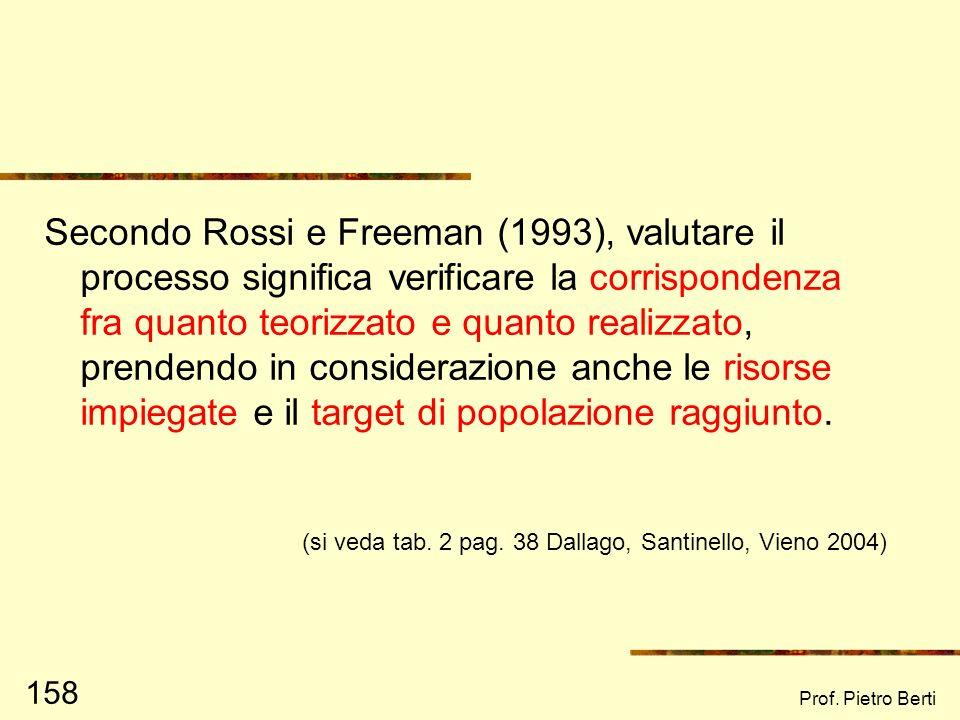 Prof. Pietro Berti 157 In itinere: la valutazione di processo Quali le componenti critiche (in positivo e in negativo) del progetto? Come queste si le