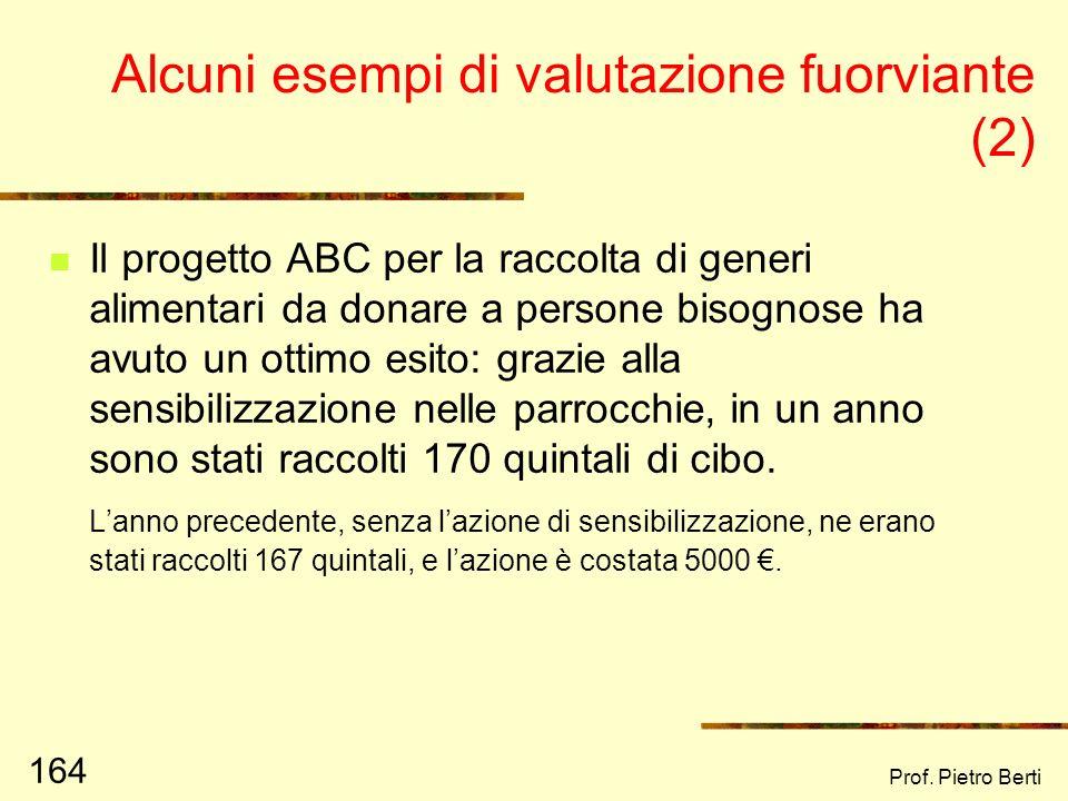 Prof. Pietro Berti 163 Alcuni esempi di valutazione fuorviante Il farmaco XYZ si è dimostrato molto efficace nella riduzione della pressione arteriosa