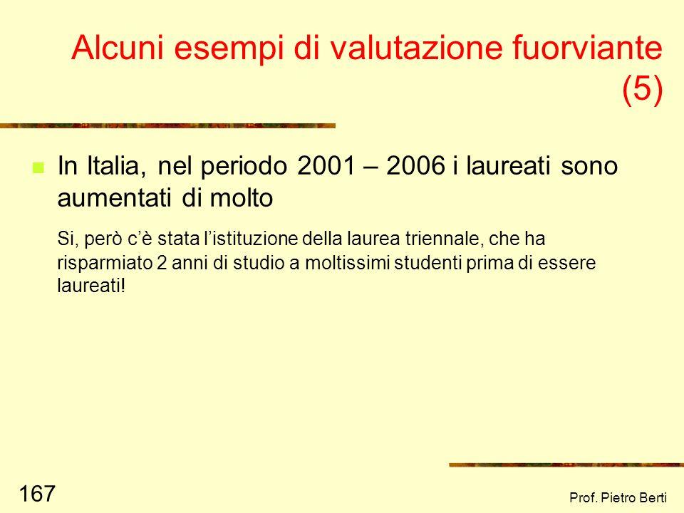 Prof. Pietro Berti 166 Alcuni esempi di valutazione fuorviante (4) Il Centro Servizi per il Volontariato di Forlì – Cesena ha aumentato di molto e in