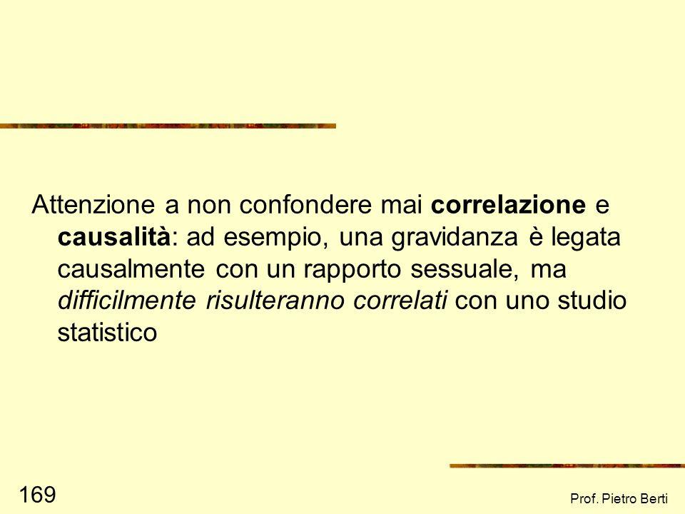 Prof. Pietro Berti 168 Alcuni esempi di valutazione fuorviante (6) In un convegno nel 2001, una ricercatrice affermò che un progetto di educazione civ
