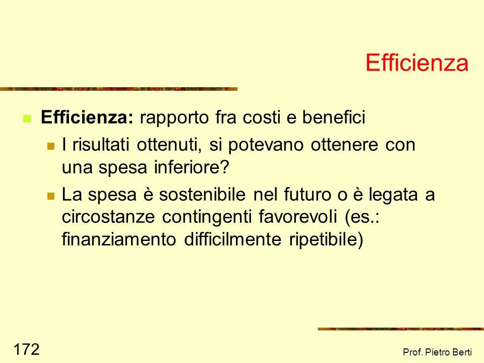 Prof. Pietro Berti 171 Efficacia Efficacia: capacità di un progetto di raggiungere i risultati attesi Confronto fra risultati sperati e ottenuti Valut