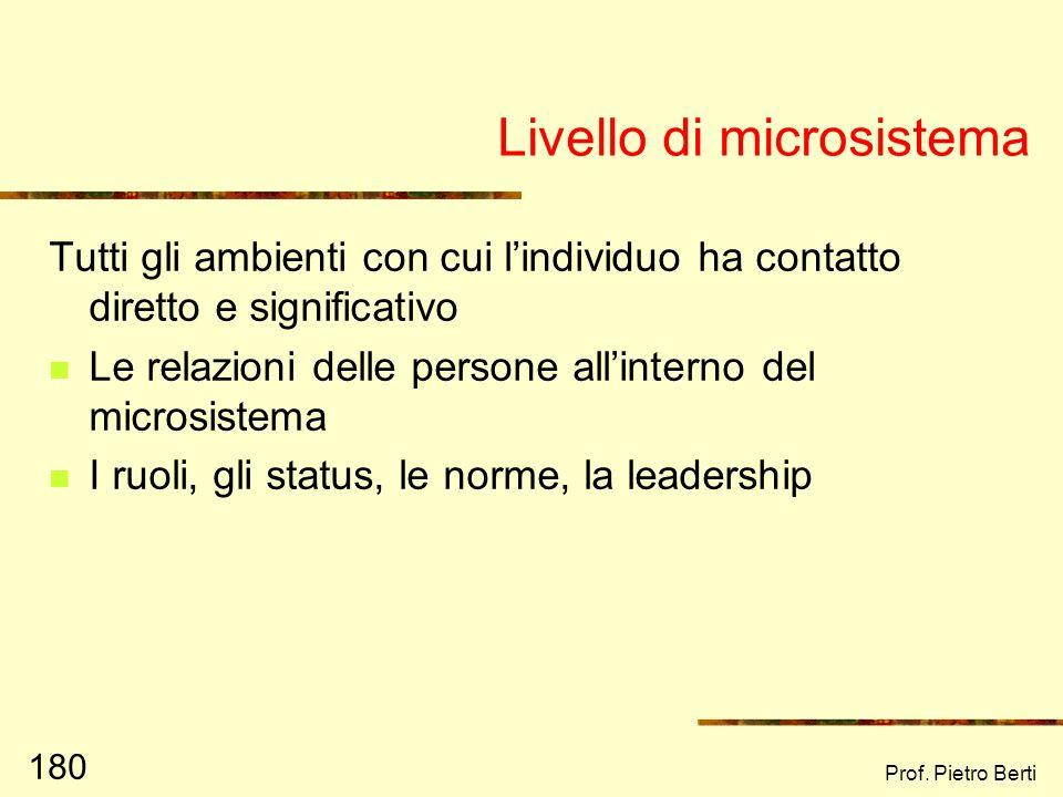 Prof. Pietro Berti 179 Livello individuale Aspetti di personalità Risorse/ carenze personali Capacità di relazionarsi con lambiente Capacità e strateg