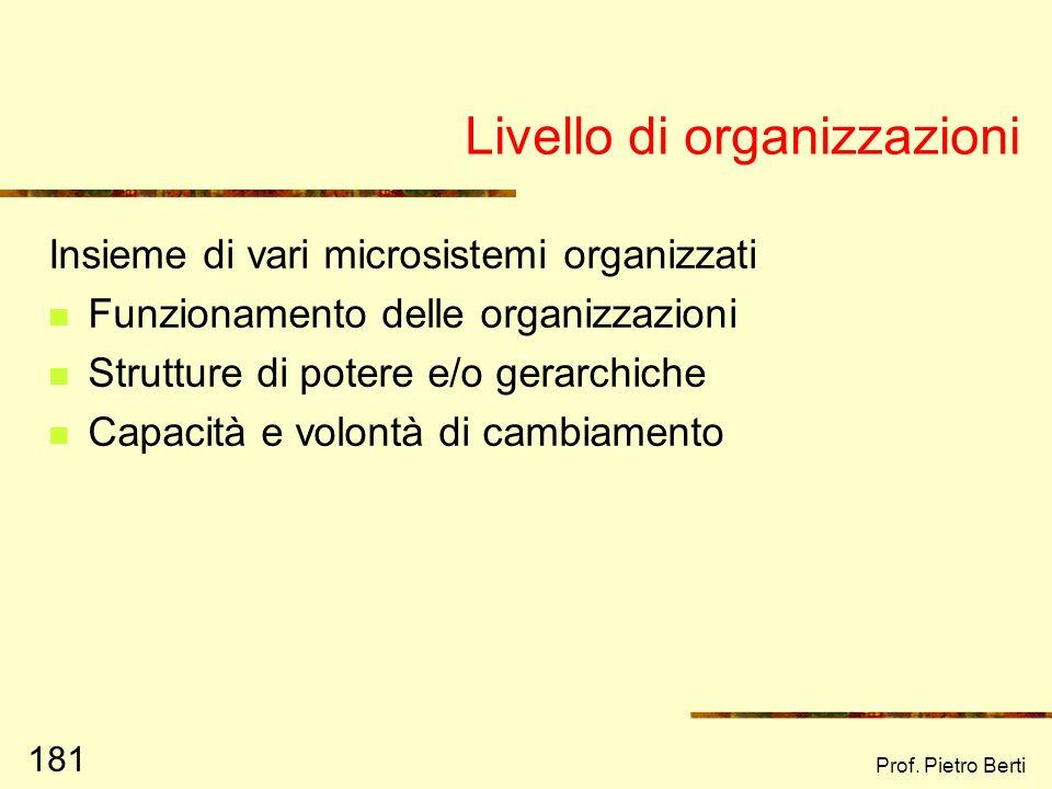 Prof. Pietro Berti 180 Livello di microsistema Tutti gli ambienti con cui lindividuo ha contatto diretto e significativo Le relazioni delle persone al