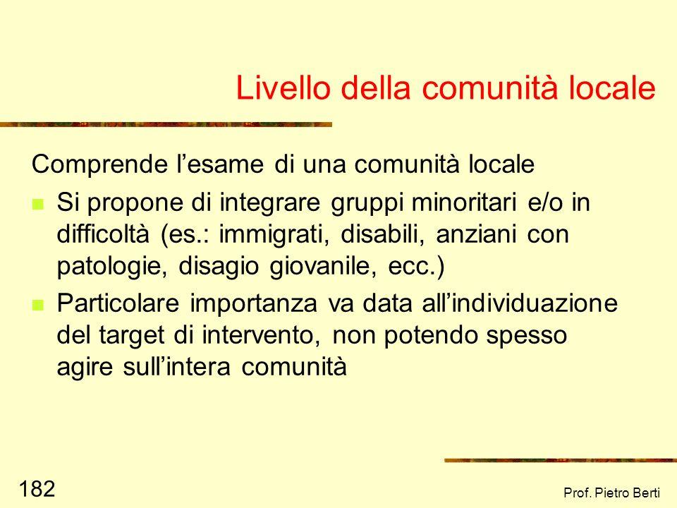 Prof. Pietro Berti 181 Livello di organizzazioni Insieme di vari microsistemi organizzati Funzionamento delle organizzazioni Strutture di potere e/o g
