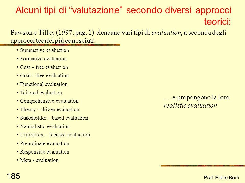 Prof. Pietro Berti 184 Economica Finalizzata al miglioramento dei programmi Finalizzata alla generalizzabilità dei risultati (Pirie 1999) Altri tentat