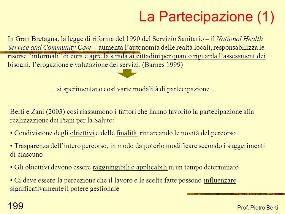 Prof. Pietro Berti 198 Sviluppo di comunità Empowerment Ricerca partecipativa Valutazione partecipata Ricerca collaborativa Cittadinanza attiva
