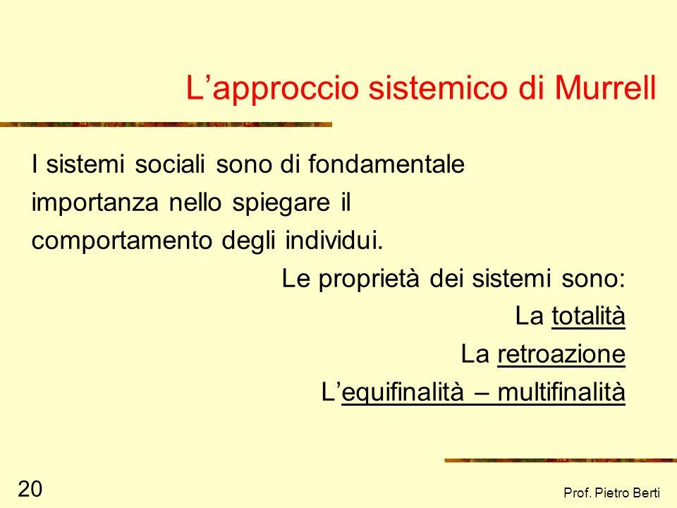 Prof. Pietro Berti 19 La psicologia ecologica di R. Barker Rottura col metodo sperimentale di laboratorio, a favore dellosservazione sul campo del com