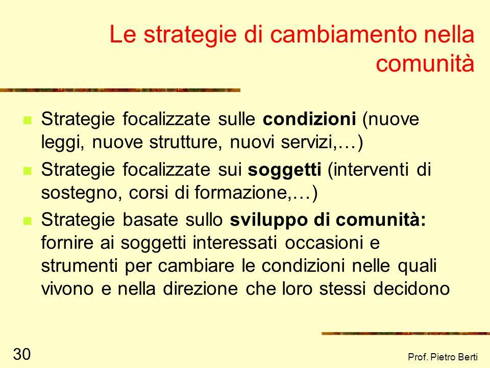 Prof. Pietro Berti 29 I due approcci di CD Modello Directing Progetti proposti dallalto Assistenza tecnica e finanziaria esterna Presenza di agenti es