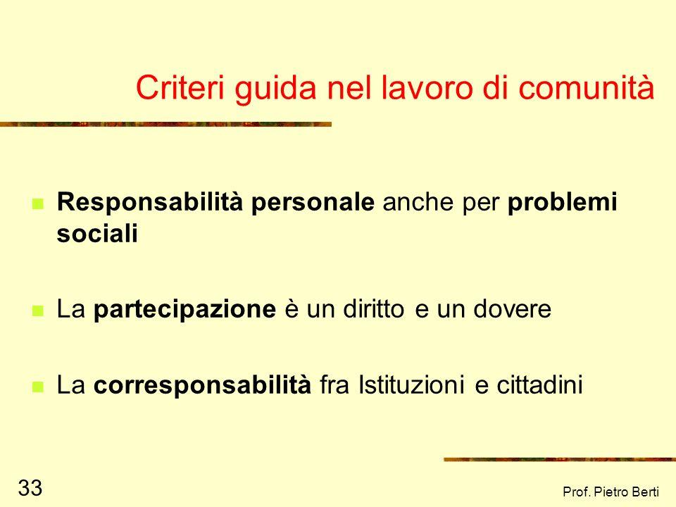 Prof. Pietro Berti 32 Il processo di sviluppo di comunità In generale, lo SC si concretizza in: Facilitazione processi di responsabilizzazione collett