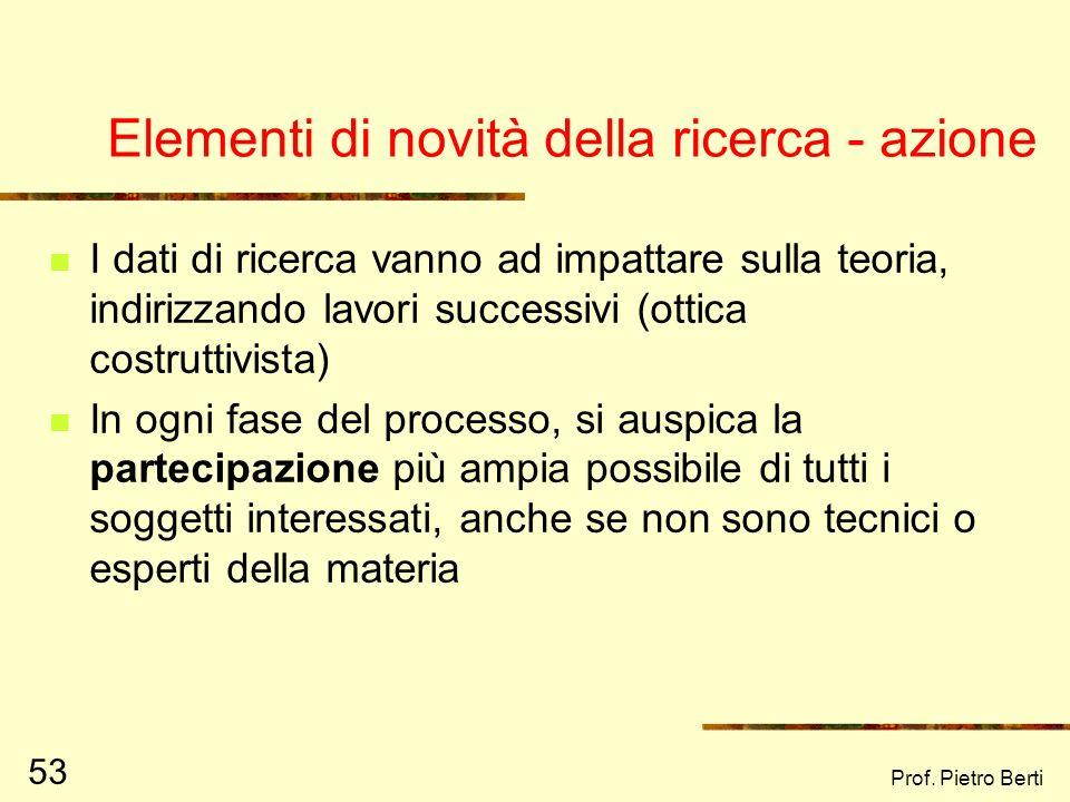Prof. Pietro Berti 52 DIAGNOSI Definizione del problema, delle ipotesi e degli obiettivi FASE CONOSCITIVA Raccolta dati prima dellintervento FASE DELL