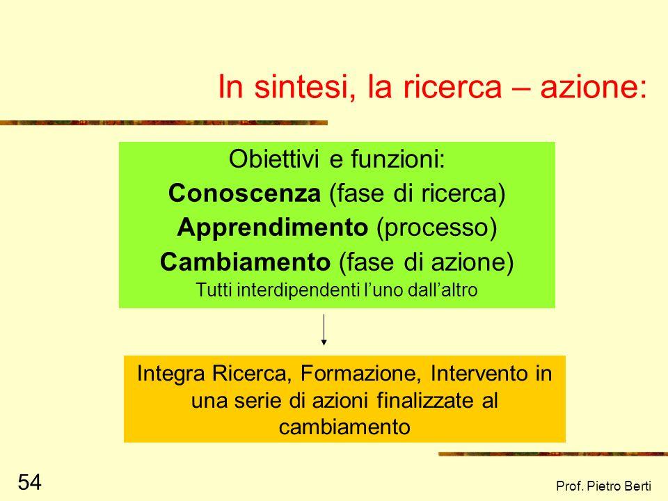 Prof. Pietro Berti 53 Elementi di novità della ricerca - azione I dati di ricerca vanno ad impattare sulla teoria, indirizzando lavori successivi (ott