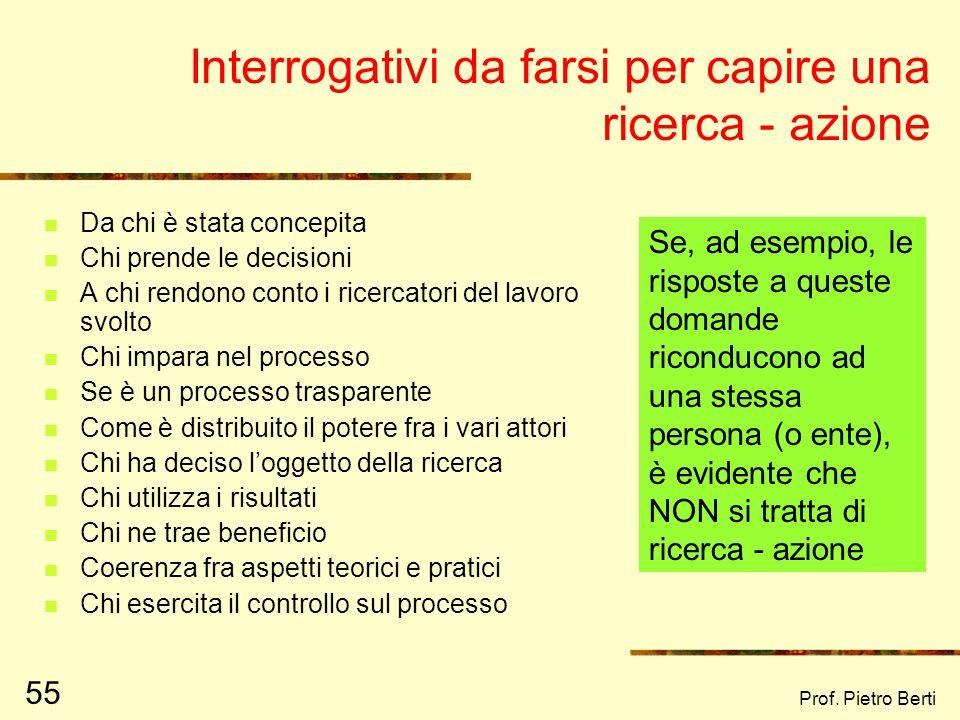 Prof. Pietro Berti 54 In sintesi, la ricerca – azione: Obiettivi e funzioni: Conoscenza (fase di ricerca) Apprendimento (processo) Cambiamento (fase d