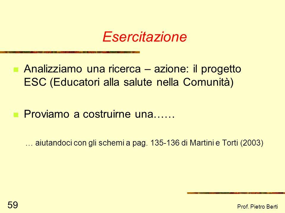 Prof. Pietro Berti 58 Lerrore più comune in una ricerca - azione Affermare che si vuole fare una ricerca – azione, e poi definire a priori nel dettagl