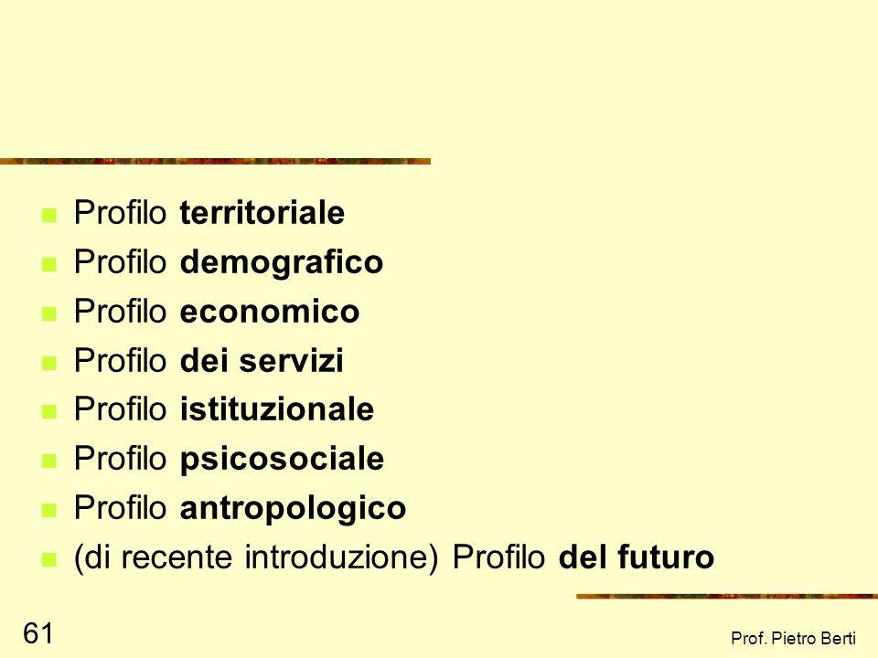 Prof. Pietro Berti 60 I Profili di comunità